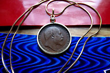 "1910 English Hay Penny Coin King Edward VII Pendant 24"" Gold Filled Snake Chain"