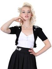 Collectif Evelyn Bolero Embroidery 1950's Style Medium Size 12 Black Box1310 M