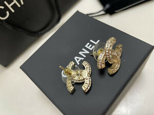 100% Authentic CHANEL CC Large Stud Gold Crystal Earrings