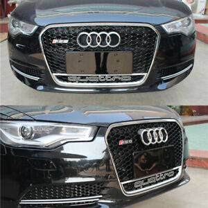 Pour Audi A6 C7 & S6 2012-15 Calandre Grille Argent Plein Brillant Nid Abeille