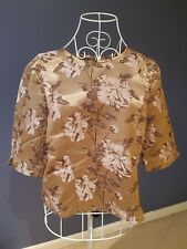 ASOS Women Metallic Gold Oriental Floral Jacquard Crop Top Size 14 Crew Neck