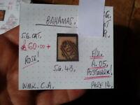 BAHAMAS QUEEN VICTORIA 1D ROSE  F/U STAMP SG 43 A,05 POSTMARK