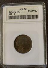 1913-D 5C Buffalo Nickel Coin ANACS Graded MS62 MS-62 Var 1 1913 5 Cent