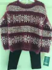 New LUCKY BRAND Girls 2 Piece Sweater Legging SET Size 3T Pink & Bow detail $56