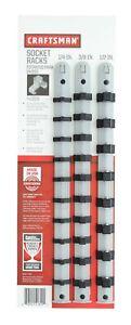 "Craftsman Socket Racks SAE Drive Tool Holder Rail 3-Piece Set 1/4"", 3/8"", 1/2"""