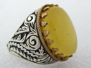 Russian handmade Baltic Amber stone 925 Sterling Silver Men's ring Turkish style