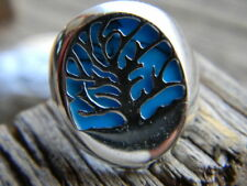 Magnificent sterling silver artisan tree of life blue turquoise ring size 8