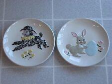 2 Vintage 1955 Jamar Mallory Ceramic Studio Lamb & Easter Bunny Plates Nursery