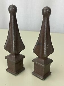 TWO solid cast iron Steeple finials Architectural Rust finish Decor Fence Set of