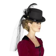 Black Victorian Top Hat With Veil Feathers Brooch Ladies Fancy Dress