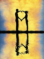 ART PRINT PAINTING SILHOUETTE COUPLE LOVE HEART REFLECTION CLOUDS GRASS LFMP0207