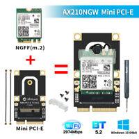 Intel AX210 Mini PCI-E WiFi 6E AX210NGW wifi card Dual Band PCIe Adapter BT5.2