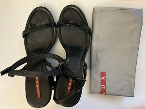 Prada Black Sandals w/ Heels Wedge BEAUTIFUL Size 36.5 + Shoe Pouch