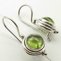 Green 7 x 7 mm Cab Peridot Earrings 2.4 cm 3.9 Grams 925 Sterling Silver New Art
