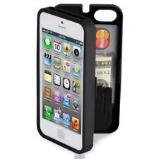 Polycarbonate Wallet Phone Case Storage and Mirror for iPhone 4/4S Black Cover