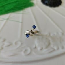 with Two Crystals Toe Ring Solid 925 Sterling Silver Triple Wires