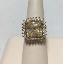 925 Sterling Silver CZ Ring  ~ Golden Tone Center Stone ~ Size 5.75 ADI THAI 8 g
