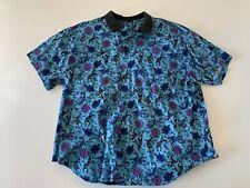 VTG 90s Short Sleeve Button Front Gecko Aztec Button Shirt Size XL Blue