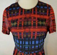 Beige By ECI Size XL Red Blue Black Stretch Lined Short Sleeve Flowy Dress