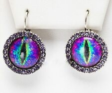 NEW KIRKS FOLLY PROTECTED BY DRAGON'S EYE GLITTER LRG LEVERBACK EARRINGS ST