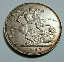 More details for 1897 sterling silver crown veiled head queen victoria weight 28.32 grams  *