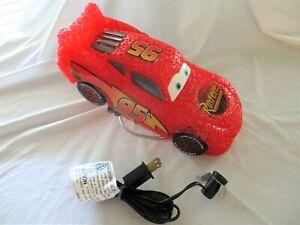 "Disney Night Light Pixar Car Lightning McQueen 10"" Table Lamp Red Car On A Metal"