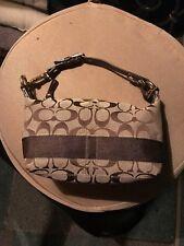 COACH Khaki Signature C Logo Brown Stripe Jacquard Mini Hobo Pouch Bag