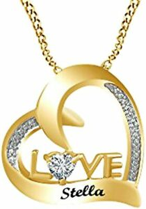 Simulated Diamond Personalized Custom Engravable Couple's  Pendant in  Silver