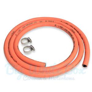 2 Metre – Caravan Motorhome LPG / Propane / Butane hose 8mm gas pipe BBQ + Clips