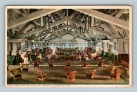 Yellowstone Park WY, Grand Canyon Hotel Lounge Vintage Wyoming c1910 Postcard