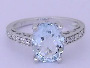 R169 - Gorgeous 9ct Solid White Gold NATURAL Aquamarine & Diamond Ring size O