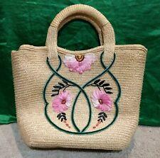 Vintage Woven/Straw Beach/Craft/Handbag-Tan/Pink/Floral-Peoples Republic China