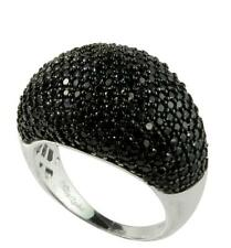 Stunning Sterling Silver Genuine Black Spinel Pave Dome Band Ring size 5