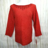 New Ruby Rd Red Sweater Size XL Womens Embellished Beads Nwt  Great Gift