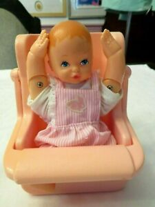 "VINTAGE PEEK-A-BOO BABY DOLL 6 1/4"" TALL WITH ROMPER & CHAIR 1988 LGTI GALOOB"