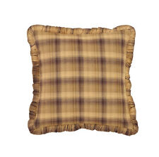 "Prescott Fabric Pillow Ruffled Country Brown/Tan Cotton Primitive Rustic 16""x16"""