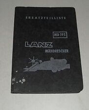 Parts Catalog/Spare Parts List Lanz Combine Harvester Md 195 - Stand 05/1955
