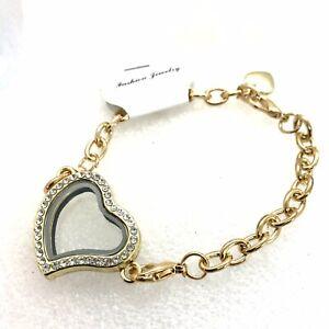 Large Floating Charm Locket Bracelet Chain  Gold Heart Rhinestones