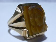 DESIGNER MENS 10K GOLD TIGERS EYE CAMEO VINTAGE ESTATE RING BAND SIZE 10.25