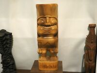 Vintage Large Hawaiian Monkey Pod Tiki - Carved Wood - Tiki Mug