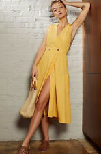 Free People Apron Wrap Midi Dress In Yellow Linen Blend Pockets Size Small