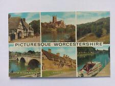 Worcestershire Vintage colour Postcard c1960s multi view