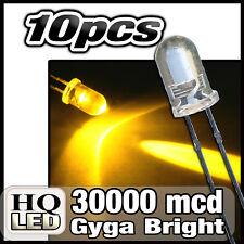 477/10# LED 5mm jaune 30000mcd   10 pcs + résistances