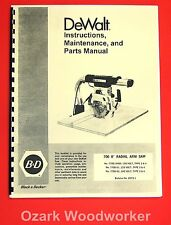 Dewalt 700 8 Radial Arm Saw Owners Instructions And Parts Manual 1024