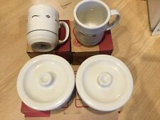 Lot of 3 Boxes Longaberger Wt Blue Pottery Mugs, Crocks, Lids New Free Ship
