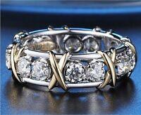 Women Eternity 3mm Diamonique CZ 10KT White&Yellow Gold Filled Wedding Band Ring