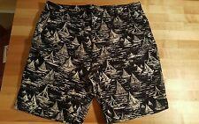 Mens Claiborne Shorts SailBoats Nautical 34 Flat Front Navy White Golf Boating