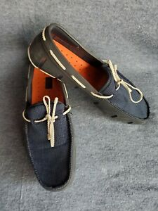 SWIMS Braided Lace Loafers Slip On Boat Shoes Navy Blue White Men's 10