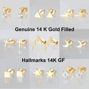 Genuine 14K Gold Filled Stud Earrings - Hallmarks 14K GF