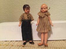"Celluloid Child Boy Girl 3-1/4"" Vintage Germany 5580 Doll House Dolls"